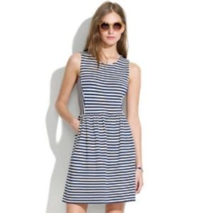 Madewell Navy & White Striped A-Line Dress Small